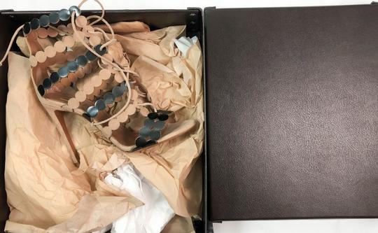 ALAA Lace Up 110mm Leather NUDE Sandals Image 3