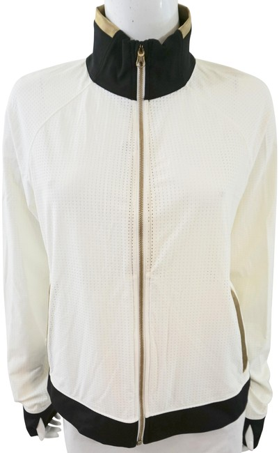 Item - White Perforated Zip Front Activewear Outerwear Size 12 (L)