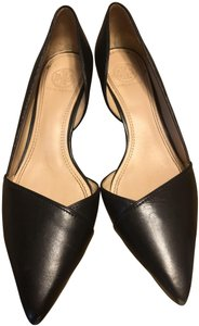 Tory Burch Monogram Black with gold accent in the heels Wedges