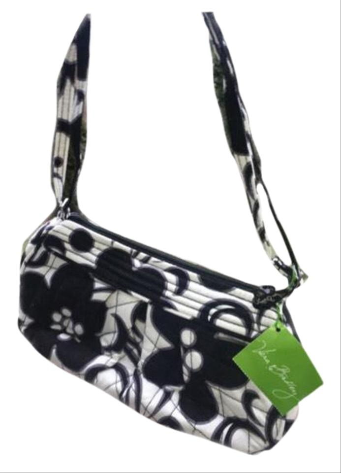 21beac7c7a03 Vera Bradley Night Day Factory Style Frannie Attached Black and White  Canvas Shoulder Bag