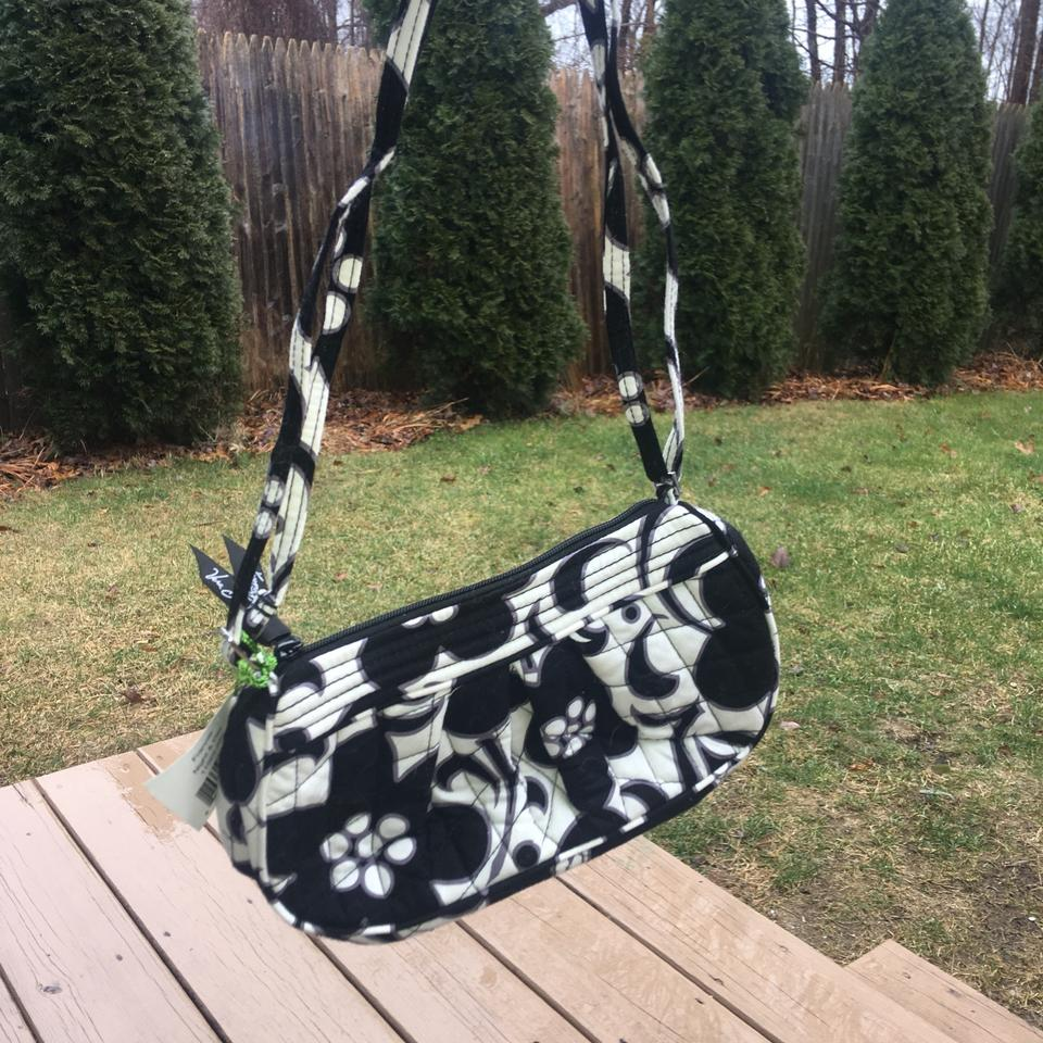 a3525db79e71 Vera Bradley Night Day Factory Style Frannie Attached Black and White  Canvas Shoulder Bag - Tradesy