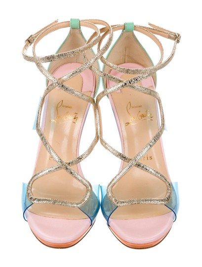 Christian Louboutin Heels Glitter 120mm CLEAR MINT PINK Sandals Image 1