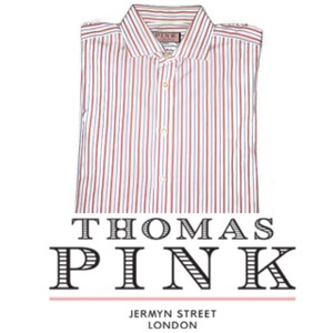Thomas Pink Red Men's French Cuff Dress Striped Button Front Shirt