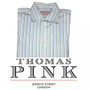 Thomas Pink Blue Men's Button Down Striped Dress Shirt