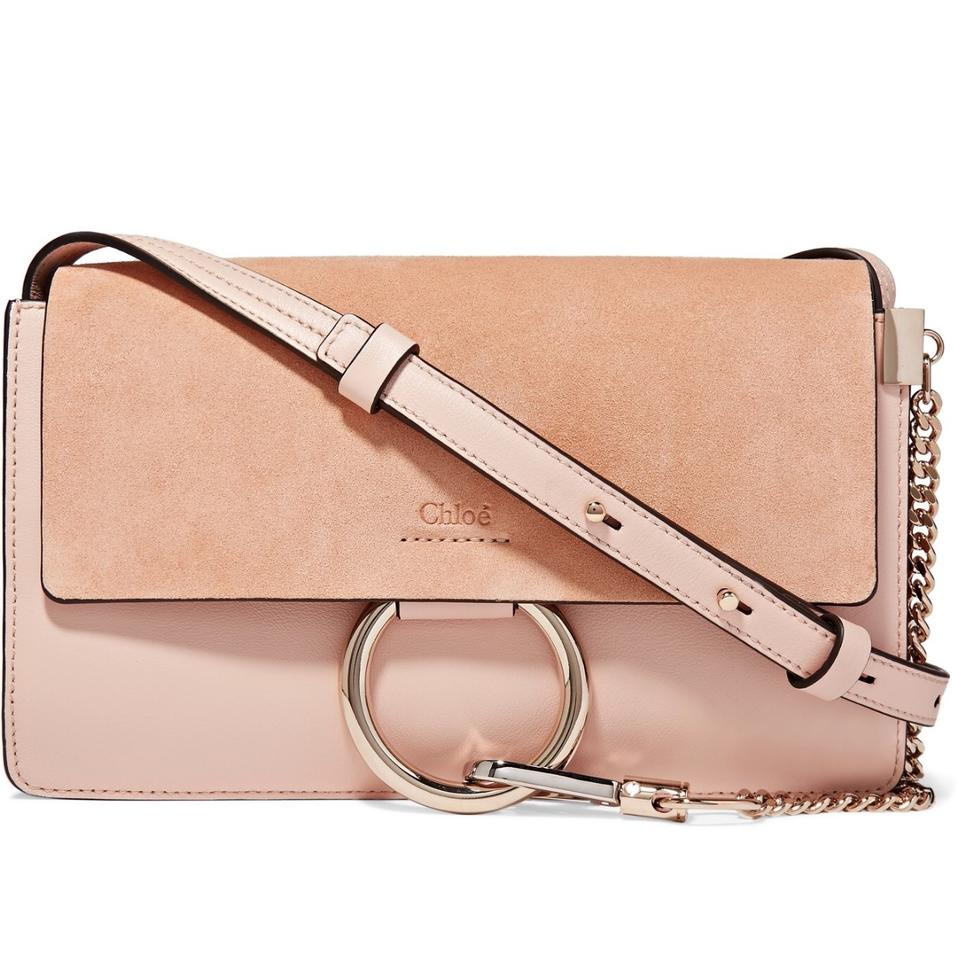 7ded760b8f Chloé Faye Small Pink Suede Leather and Leather Cross Body Bag - Tradesy