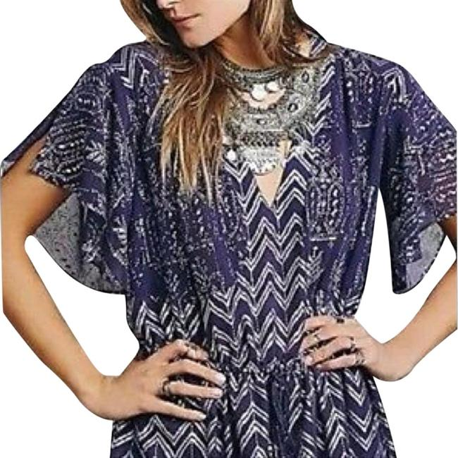 Item - Silver Love Your Chaos In Plum Combo Short Casual Dress Size 6 (S)