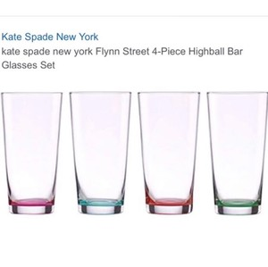 Kate Spade Multicolor Flynn Street Highball Glasses Set Of 4 Casual China