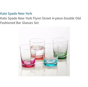 Kate Spade Multicolor New York Flynn Street 4-piece Double Old Fashioned Bar Glasses Set Casual China