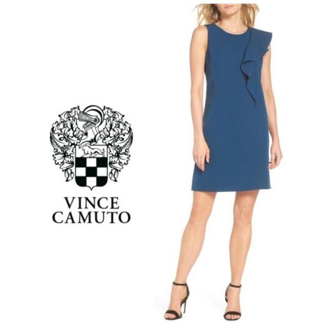 Vince Camuto Blue Ruffle Crepe A-line Short Cocktail Dress Size 16 (XL, Plus 0x) Vince Camuto Blue Ruffle Crepe A-line Short Cocktail Dress Size 16 (XL, Plus 0x) Image 1