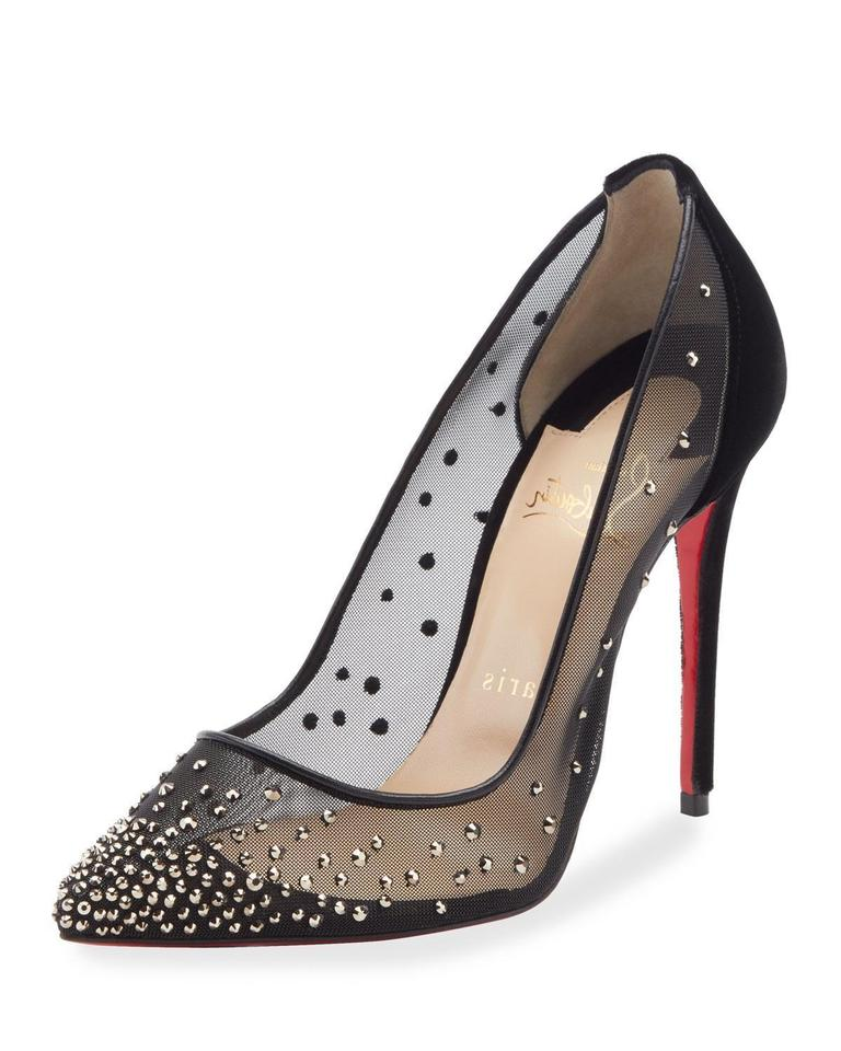 8ee0d35c1ce8 Christian Louboutin Black Follies Strass Patent Leather Heels 8.5 Pumps