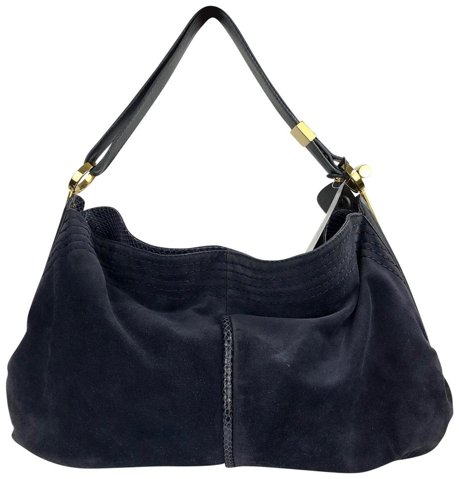 Jimmy Choo Large Dark Shoulder Snake Trim Blue Suede Leather Hobo Bag 65%  off retail 15444ed0b2814