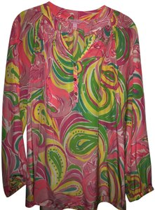 Lilly Pulitzer Silk Top Pink, yellow, lime, blue