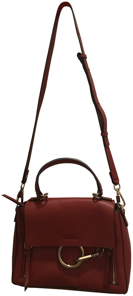 808be54d269b7 Chloé Faye Small Pebbled Ring Dahlia Red Leather Shoulder Bag - Tradesy