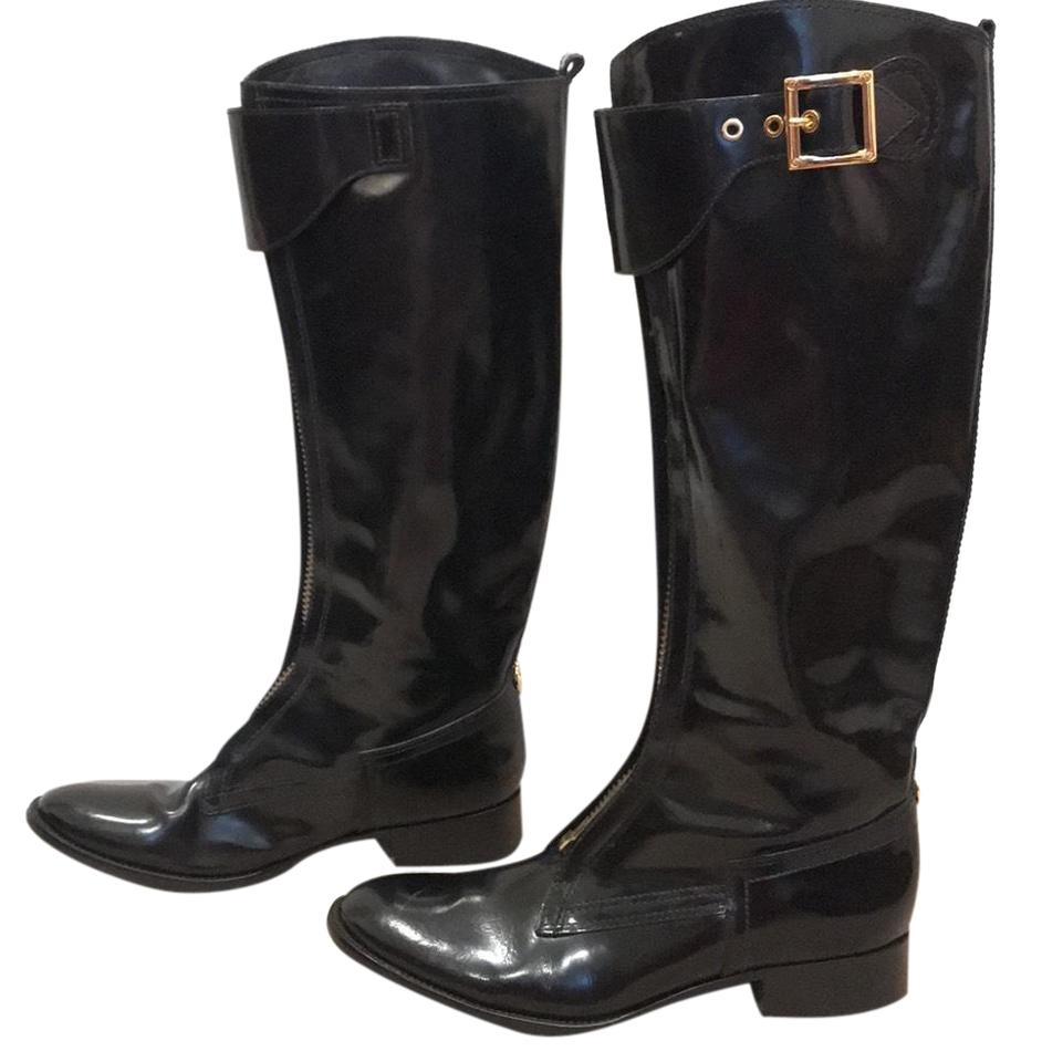 75a7c716f79612 Tory Burch Black Patent Leather Riding Boots Booties Size US 9.5 ...