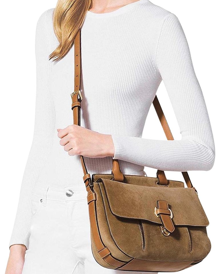 a46fff309d4696 Michael Kors 'romy' Brown Suede Leather Cross Body Bag - Tradesy