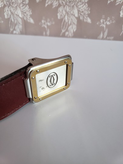 Cartier Bordeaux Leather Two Tone Logo Silver and Gold Buckle Unisex Image 1
