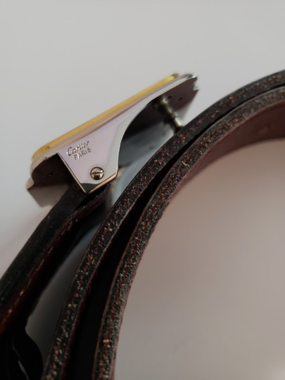 Cartier Bordeaux Leather Two Tone Logo Silver and Gold Buckle Unisex Image 2
