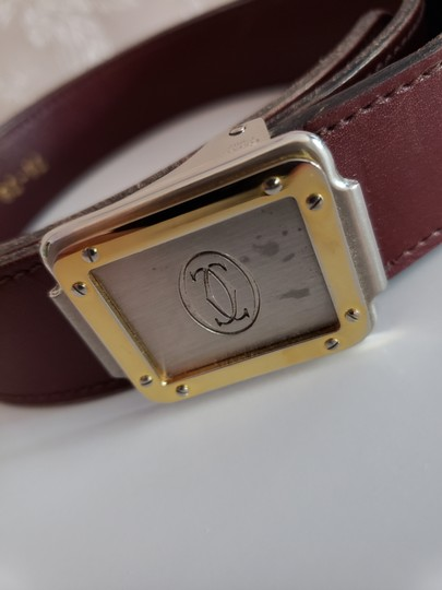 Cartier Bordeaux Leather Two Tone Logo Silver and Gold Buckle Unisex Image 5