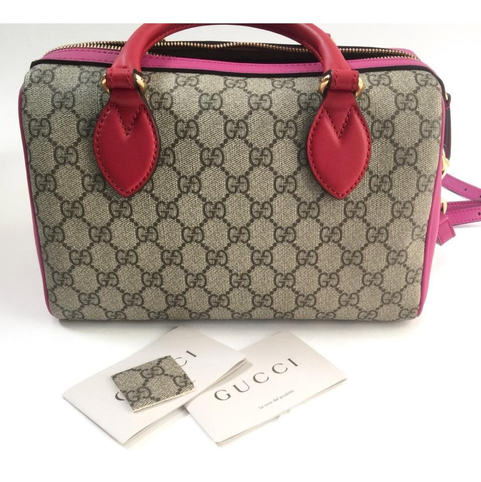e514874cfd29 Gucci Top Handle Bag Boston Gg Supreme Leather Style 409529 Pink Hibiscus  Canvas Satchel - Tradesy