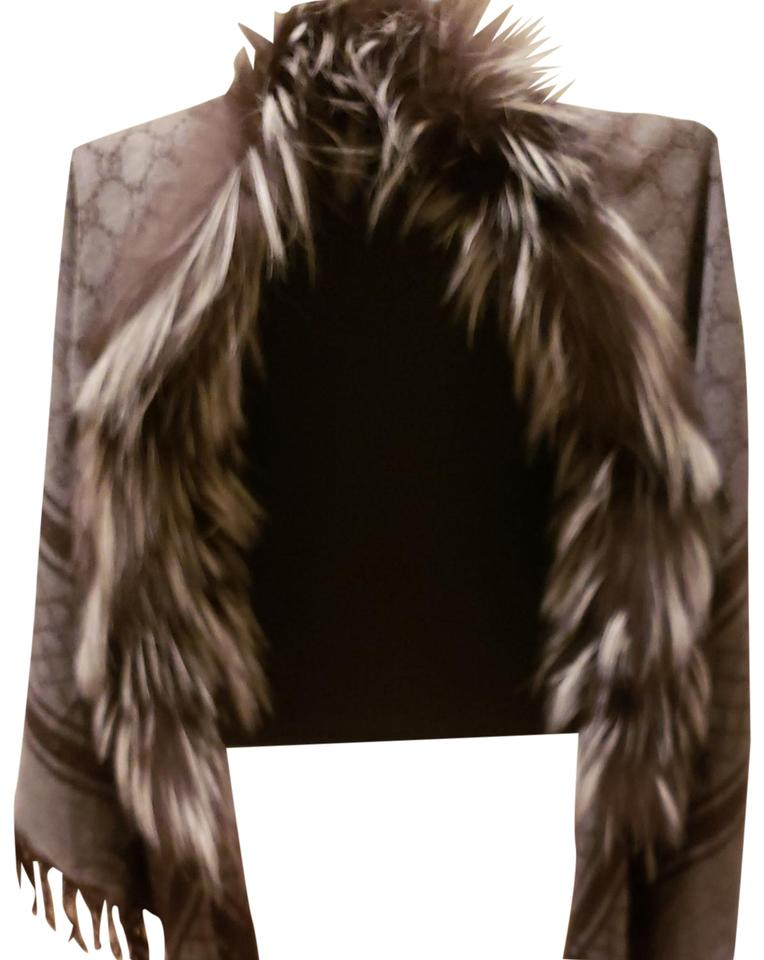 7609a9ecfe58 Gucci Lead/Light Gray Wity Gg Print. Wool/Silk with Silver Fox Fur ...