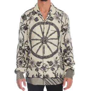 Dolce&Gabbana Beige / Gray D1170-1 Wheel Print Silk Casual (41) Shirt