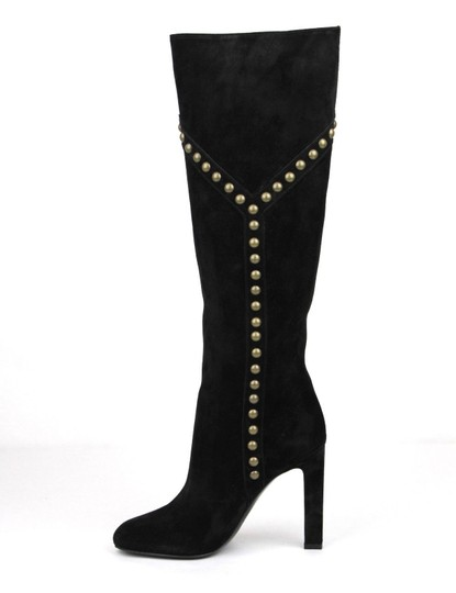 Saint Laurent Women's Suede Grace 105 Black Boots