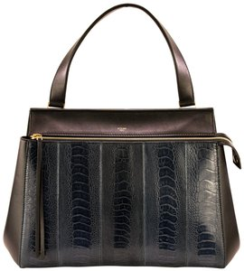 Celine Edge Navy Blue Ostrich Leather Tote in Black