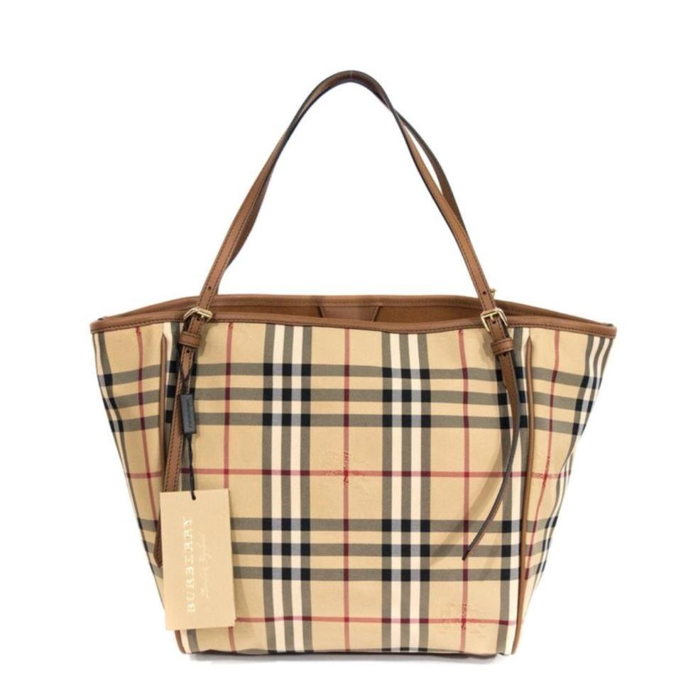 44dc4d4995e2 Burberry Small Canter  Horseferry Check   Leather Honey Tan Tote ...