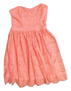 Forever 21 short dress coral Lace Trim Pink Summer on Tradesy
