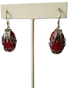 Red Coral In Scrolled Sterling Silver Earrings
