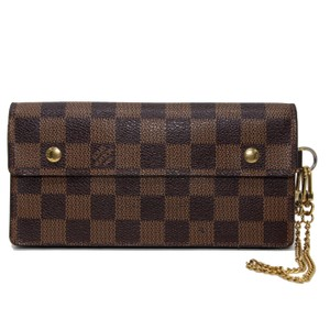 Louis Vuitton Damier Ebene Canvas Portefeuille Accordeon Long Chain Wallet 0321a801c5ac6