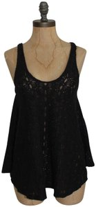 Free People Lace Beach Lace Top black