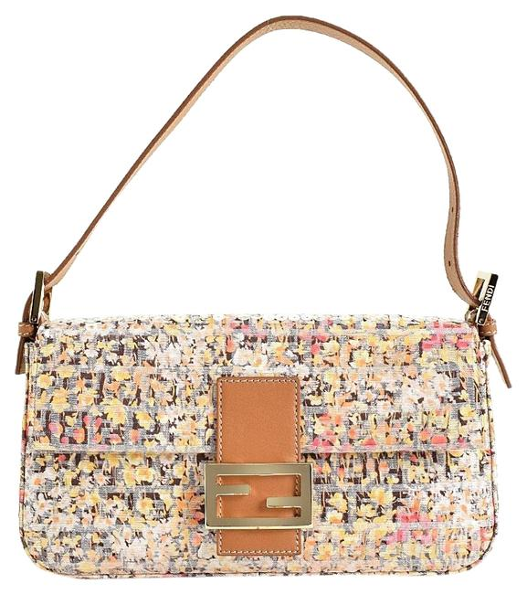 Item - Multicolor Sequin Beige/Pink/Yellow Canvas/Leather Baguette