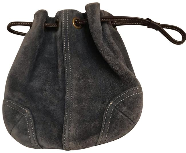 Item - Blue Suede Drawstring Pouch Cosmetic Bag
