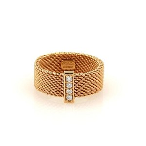 Tiffany & Co. 18k Rose Gold Diamond Somerset Mesh Ring Sz 5