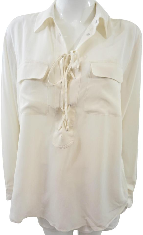 66014f9bb7787d Equipment White Silk Blouse Size 12 (L) - Tradesy