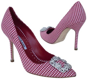 Manolo Blahnik Red & White Pumps