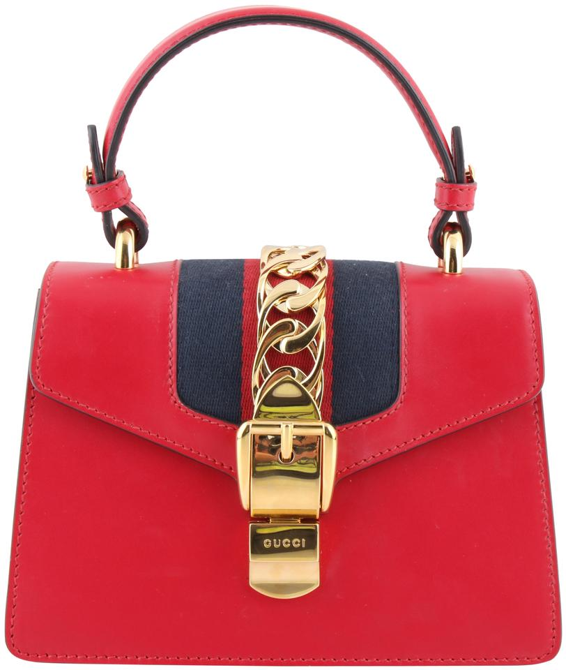 8d19863f5ff442 Gucci Sylvie Mini Chain-trimmed Canvas Red Calfskin Leather Shoulder ...