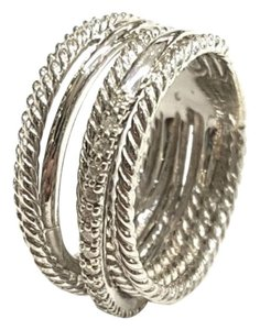 David Yurman GORGEOUS! David Yurman Crossover Wide Cable Pave Diamond Ring Sterling Silver 0.18 carat Total Weight Pave Diamonds 11mm Wide Size 6. Comes with Original David Yurman Pouch!!