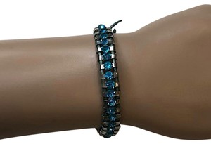 Chan Luu Chan Luu Blue Swarovski Crystal Metal and Leather Wrap Bracelet