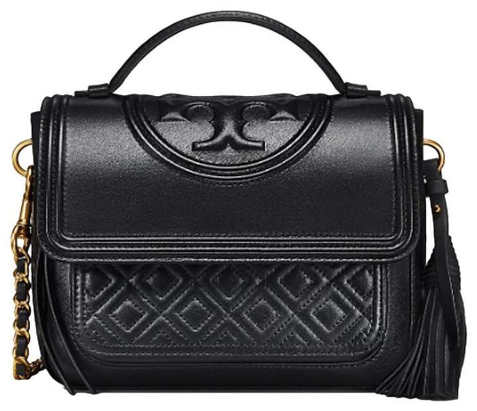 892f2e947c6 Tory Burch Fleming Satchel Black Quilted Leather Cross Body Bag ...