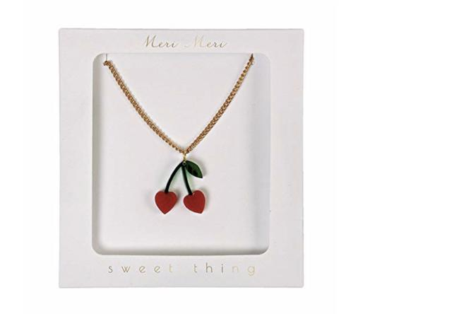 Red Green Gold Sweet Thing Heart Cherry Pendant Necklace Red Green Gold Sweet Thing Heart Cherry Pendant Necklace Image 1