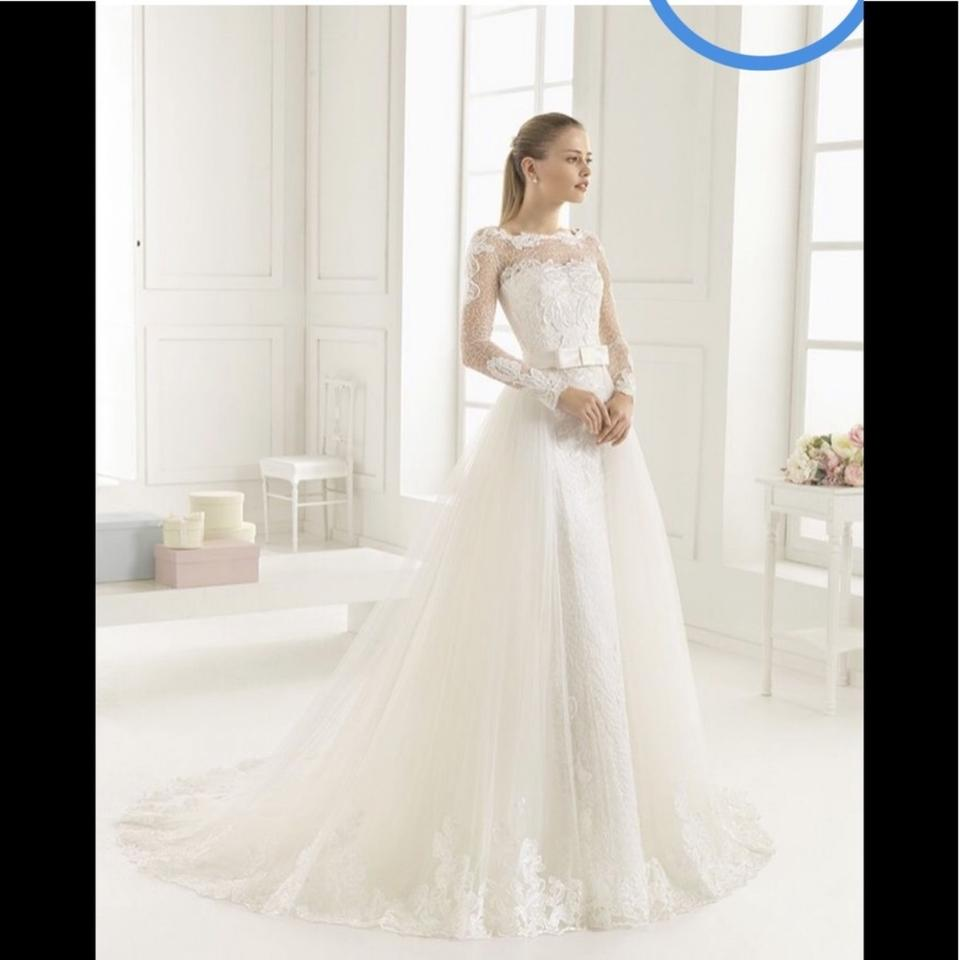 463f56f584 Rosa Clará Overskirt Soft Tulle Formal Wedding Dress Size 8 (M) 91% off  retail