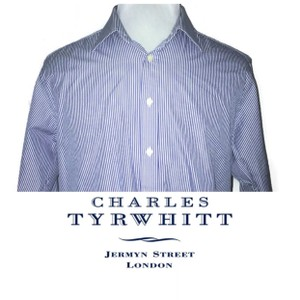 Charles Tyrwhitt Blue Men's Button Down Dress Striped Shirt