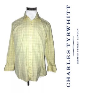 Charles Tyrwhitt Yellow Men's Button Down Dress Classic Plaid Shirt