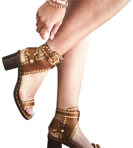 Isabel Marant Leather Studded Tan Sandals