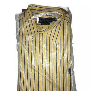 Ralph Lauren Yellow Men's Button Down Striped Dress Pony Logo Shirt