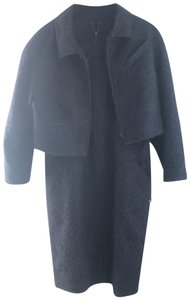 Chanel Navy Blue Mohair Boucle Cropped Blazer and Shift Dress 2 Piece Set