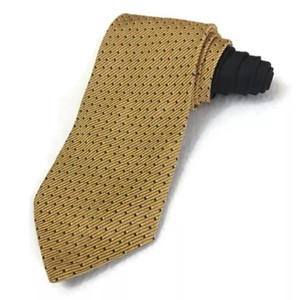 Tommy Hilfiger Gold Men's Silk Dots Necktie Made In Usa Tie/Bowtie