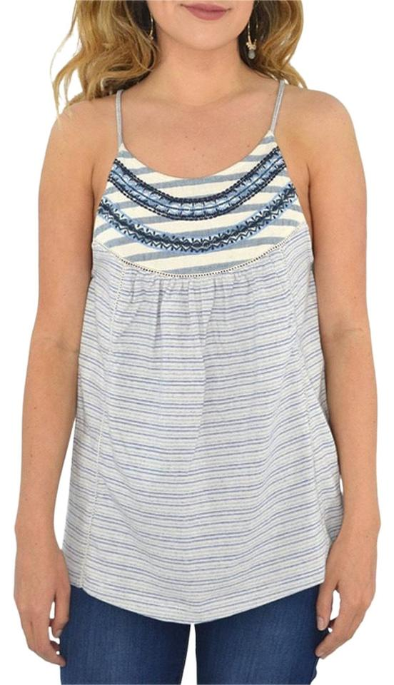 18d6bb3d1d283 Lucky Brand Blue Embroidered Tank Top Cami Size 8 (M) - Tradesy